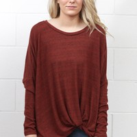 Get Twisted Brushed Hacci Sweaters {Rust}
