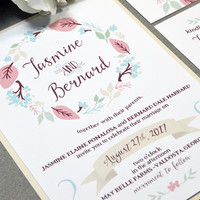 Floral Wedding Invitation Suite, Rustic Wedding Pocket Invitations, Cream and Wine Wedding Invites, Outdoor Wedding Invitations, Leaf Invite