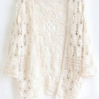 White Cut-Out Crochet Cardigan