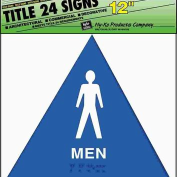 "Ada Men Restroom Sign 12"" X 12"" Plastic White On Blue"