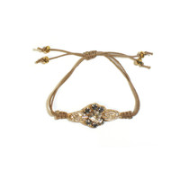 Crystal Empire Flower Gold and Gray Cuff Bracelet