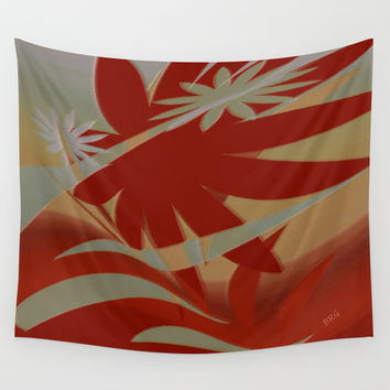 Colored Jungle Red Wall Tapestry by Ben And Raisa Gertsberg