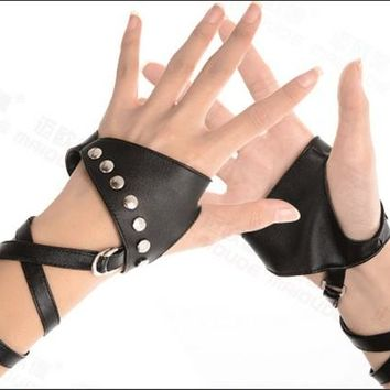 Black white Color gothic punk lady girl Sexy Disco dance rock-and-roll fingerless short PU leather gloves free shipping