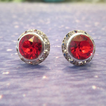 swarovski 8mm  crystal stud earrings red Emily dazzlers. #303