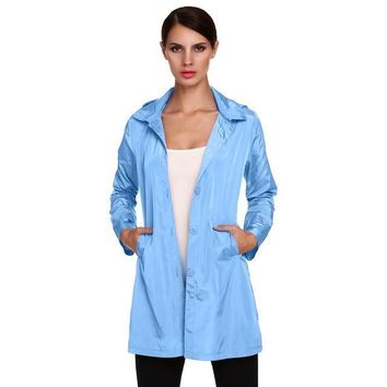 =Stylish Ladies Women Pack-able Long Sleeve Solid Casual Hoodie Raincoat  Autumn Winter Thin Coat