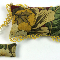 Handmade Pincushion, Linen, with Antique Tatting