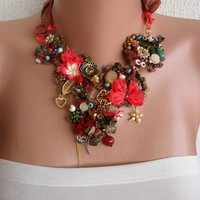 Brown and Coral Necklace - Handmade Design - Summer Collection