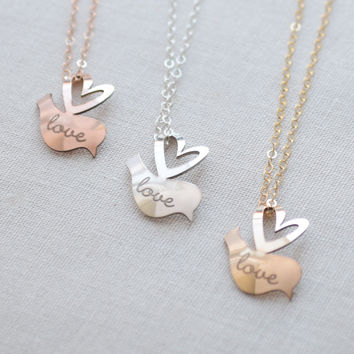 Personalized Lovebird Necklace