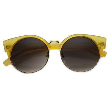 Trendy Chic Modern Round Half Frame Cat Eye Sunglasses 9200