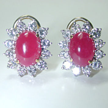 5.84ct Ruby and Diamond Earrings 18kt White JEWELFORME BLUE