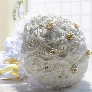 DCCKIX3 30 Pcs High Simulation Rose Bridal Holding Flowers Bouquet Wedding Flower Decorations Valentine's Gift = 1932903236