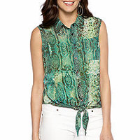 New Directions® Sleeveless Tie Front Blouse