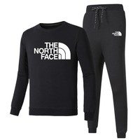 The North Face New fashion letter print long sleeve top and pants sports leisure two piece suit Black