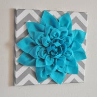 "MOTHERS DAY SALE Wall Flower -Light Turquoise Dahlia on Gray and White Chevron 12 x12"" Canvas Wall Art- Baby Nursery Wall Decor-"