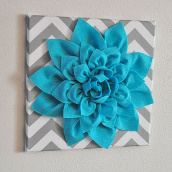 """MOTHERS DAY SALE Wall Flower -Light Turquoise Dahlia on Gray and White Chevron 12 x12"""" Canvas Wall Art- Baby Nursery Wall Decor-"""