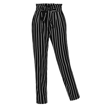 LE3NO Womens Stretchy High Waisted Slim Straight Leg Casual Striped Pants