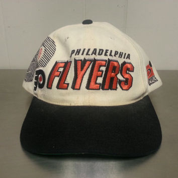 Vintage 90's Philadelphia Flyers Sport Specialties Shadow Snapback Hockey Hat Pennsylvania Wool Orange Black