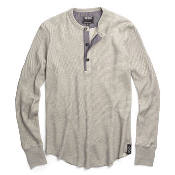Long Sleeve Thermal Henley in Oatmeal