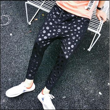 Summer black sequins dot pants printing nine points slacks harem pants non-mainstream hairstylist trousers men's singer costumes