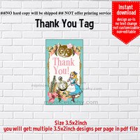 Instant Download, Alice in wonderland #840 thank you gift, alice party, Thank you TAG, 3.5x2inch printable  , non-editable NOT CUSTOMIZABLE