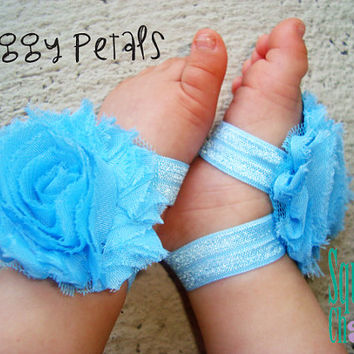 Sky Blue Piggy Petals -  ADORABLE Baby Barefoot Sandals Toe Blooms - Photo Props - Baby Shoes - Newborn Shoes - Toddler Sandals