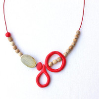 Fun asymmetrical wooden necklace funky red jewelry red abstract necklace