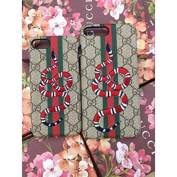 GUCCI Fashion Print Embroidery iPhone Phone Cover Case For iphone 8 8plus iPhone6 6s 6plus 6s-plus iPhone 7 7plus