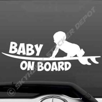 Baby On Board Funny Vinyl Decal Bumper Sticker Cute Surfboard Surfer Car Van JDM