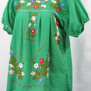 """La Belleza"" Embroidered Mexican Peasant Top -Green"