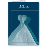 NIECE Junior Bridesmaid TEAL BLUE Flowing Dresses Greeting Cards