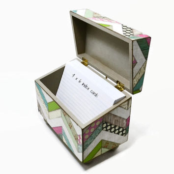 Recipe card box, rustic kitchen, distressed wood box, multi pattern chevron, wedding gift, shower gift, 4 x 6 index cards