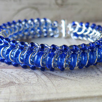 Cobalt Chainmaille Bracelet - Glass Caterpillar - Blue Beaded Bracelet - Blue Bracelet