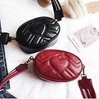 Fashion Love Heart Quilted Waist Bag Single Shoulder Messenger Bag Women Solid Color Small Round Bag