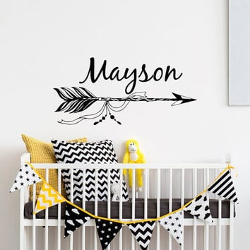 Boho Arrow Name Wall Decal- Custom Name Decal- Customized Name Wall Decal- Personalized Vinyl Wall Decals Nursery Arrow Boho Bohemian #61