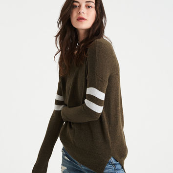AE Step-Hem Sweater, Olive