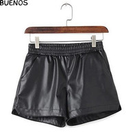 Winter Autumn Sexy Shorts Women's Slim Fit PU Leather Shorts female casual shorts plus size BN955