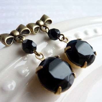 Jet Black Earrings, Vintage Glass Drop Earrings, Bow Post Earrings, Faceted Glass Earrings