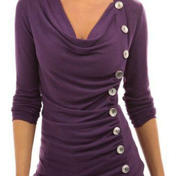 Purple Button Decorated Long Sleeve Sweatshirt