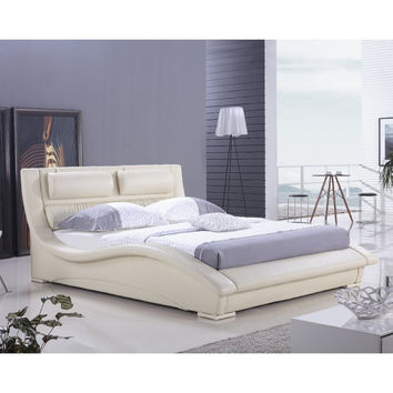 King size Modern Platform Bed in Cream Faux Leather