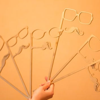 Gold Photo Booth Props 6 Piece Set - Party Photo Props - Wedding Party Favor