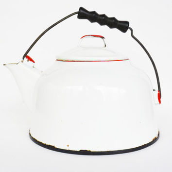 Vintage White and Red Enamel Coffee Pot, Rustic Large Kettle, Shabby Chic Cottage
