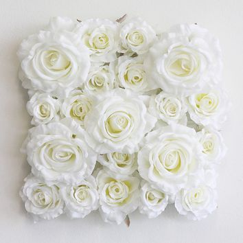 "White Silk Rose Tile for Flower Walls - 9.75"" Square"
