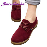 New Oxford Shoes For Women Autumn FASHION Nubuck Leather Plain Lace Up Flat Women Shoes Zapatos Mujer Ladies Shoes PWFS007