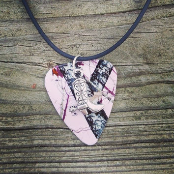 Light Pink Mossy Oak Camo Camouflage guitar pick necklace with silver cowboy boot charm country girl jewelry gift