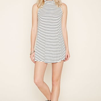Striped Mock Neck Shift Dress | Forever 21 - 2000170563