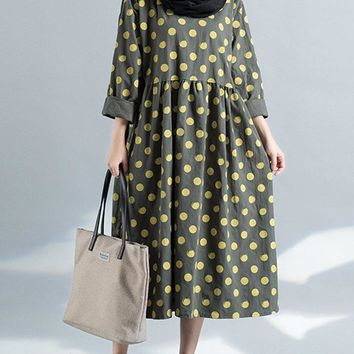 Women Polka Dots Long Sleeve Loose Vintage Mid-Long Dresses
