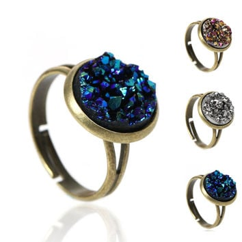Copper Adjustable Druzy Rings Round Antique Bronze Royal Blue Silver-gray