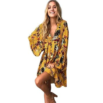 Summer Yellow Cotton Floral Print Bell Sleeve Mini Dress