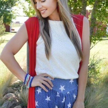 Crazy Train Star Spangled Banner Lace Shorts
