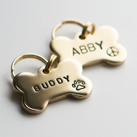 Dog Tag / Pet ID Tag, Bone Shaped Tag -Brass-, Customized, Personalized, Hand Stamped